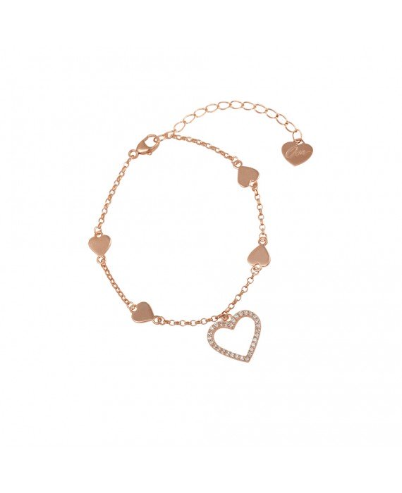 Bracciale Donna Argento Rose Gold Osa Jewels Mayrose Cuore 8097