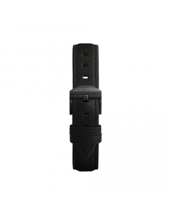 Cinturino Nero Kustom Watches Orologi Personalizzabili In Vera Pelle Con Fibbia Nera Opaca ST-A-02