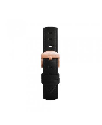 Cinturino Nero Kustom Watches Orologi Personalizzabili In Vera Pelle Con Fibbia Rose Gold Opaca ST-A-03