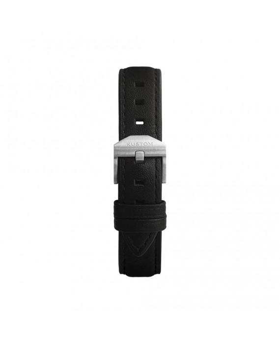 Cinturino Nero Kustom Watches In Vera Pelle Con Fibbia Silver Opaca ST-A-01