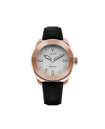 Orologio  Personalizzabile Uomo Kustom Watches 41 mm Quadrante Bianco Cinturino Vera Pelle