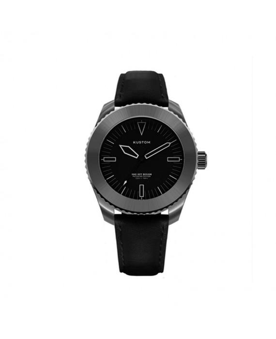Orologio  Personalizzabile Uomo Kustom Watches 41 mm  Total Black Cinturino Pelle
