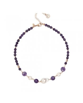 Collana Girocollo Donna Boccadamo Jewels Perlamia Ametista Perle GR750RS