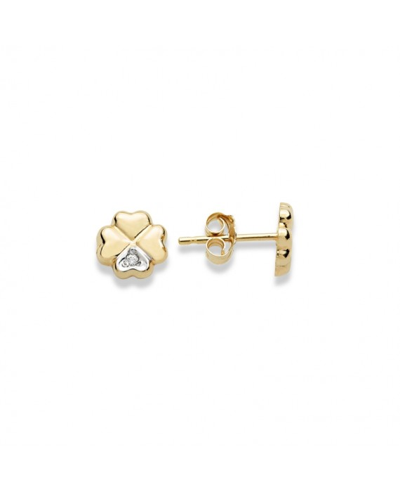 Orecchini Donna Ambrosia Gioielli Oro Giallo Quadrifoglio AOZ414