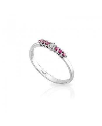 Anello Donna Mey Jewels Basic Collection Oro Bianco Diamante Rubini AN MEY/RIV-DR