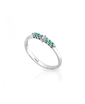 Anello Donna Mey Jewels Basic Collection Oro Bianco Diamante Smeraldi AN MEY/RIV-DS