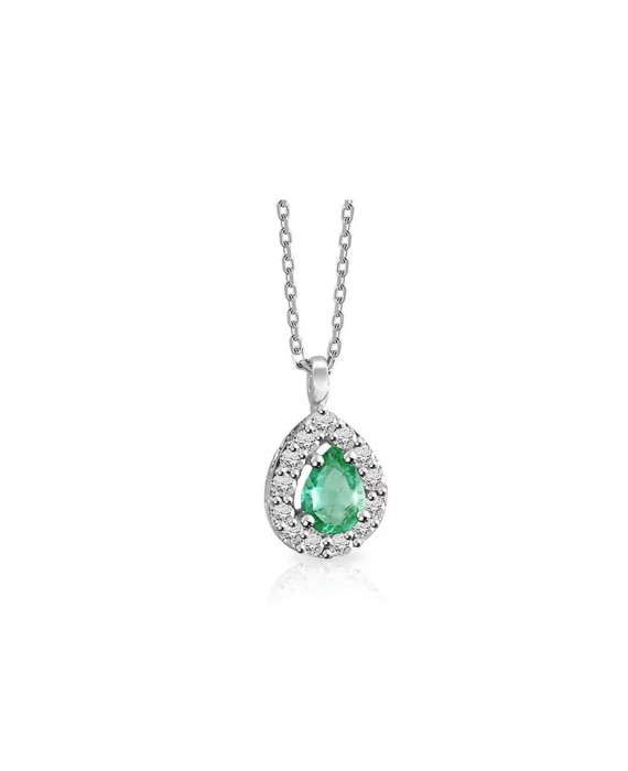 Collana Donna Mey Jewels Gioele Collection Diamanti Smeraldo Goccia CD MEY/GBR-EM