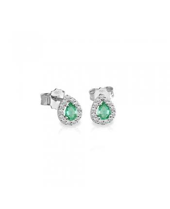 Orecchini Donna Mey Jewels Oro Diamanti Smeraldi Goccia CD MEY/GBR-EM