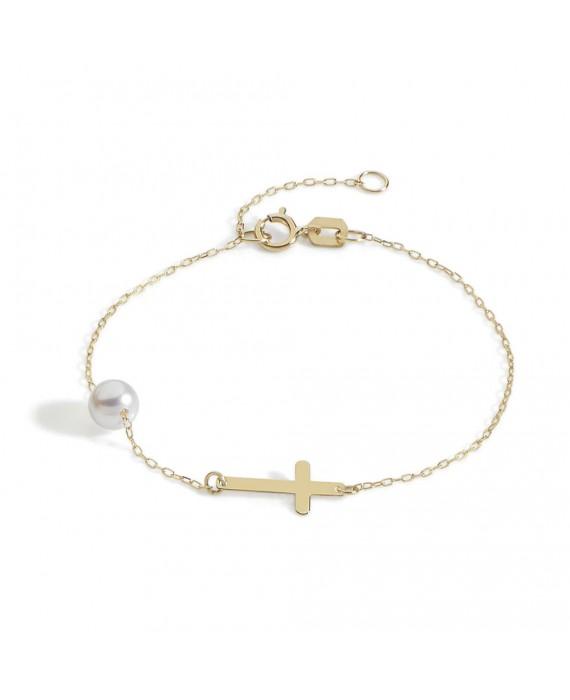 Bracciale Donna Ambrosia Gioielli Oro Giallo Croce Perla ABP029